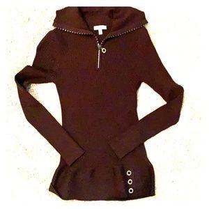 Cache womens long sleeve dark brown dress shirt